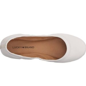 New Erin Lucky brand leather white flats